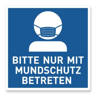 Mundschutzpflicht Aufkleber Schild Hinweis blau
